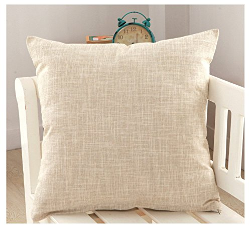 SEEKSEE Solid Color Pillow Covers Shams Burlap Lined Square Throw Pillow Case Cushion Covers Bench Couch Sofa Living Room (26