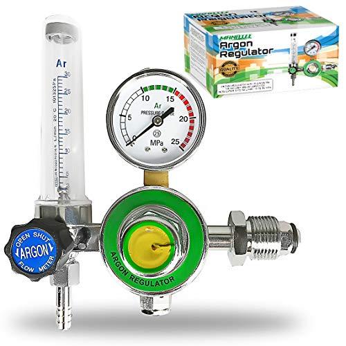 Manatee Argon Regulator With Flowmeter TIG Welder MIG Welding CO2 Regulator 0 to 30 L/MIN - 0 to 25 MPA Pressure Gauge CGA580 Inlet Connection Gas Welder Welding Regulator with -