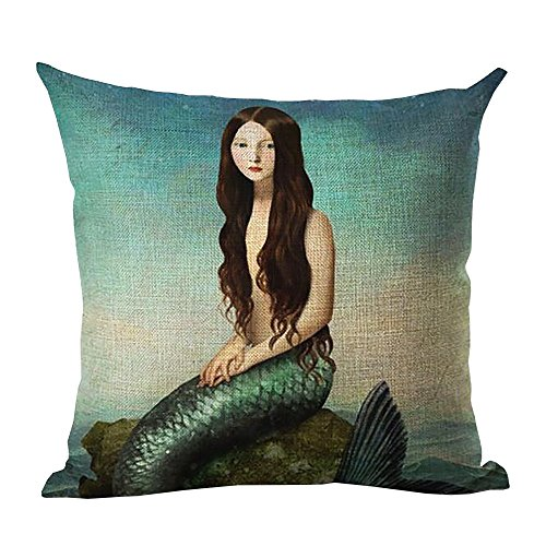 ME COO Creative Cartoon Mediterranean Mermaid Printed Blend Square Hugging Pillow Cover Bedding Set pillow case wedding kids gift 18 Inches × 18 Inches 1Pcs (ME-BZX1-27)