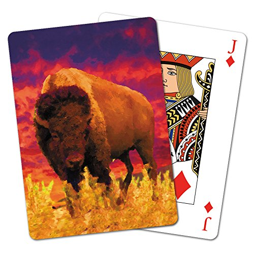 Tree-Free Greetings Deck of Playing Cards, 2.5 x 0.8 x 3.5 Inches, Sunset Buffalo  (CD15294) (3.5 Inch Buffalo)