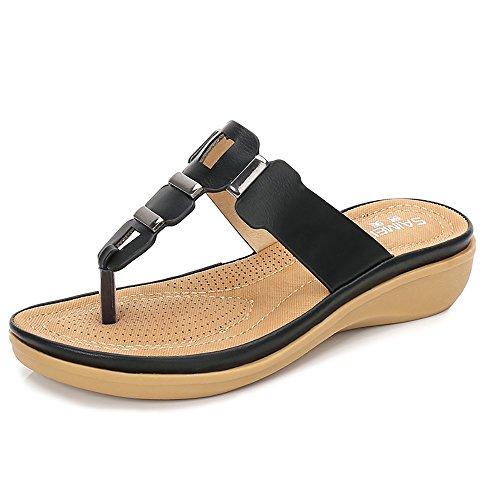 Wollanlily Women Summer Beach Flat Sandals Bohemia Flip-Flop Ankle Strap Thong Shoes Black-03 US 6
