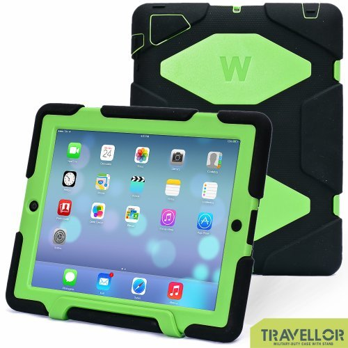 iPad Cases,iPad 2 Case,iPad 4 Case,TRAVELLOR®[Heavy Duty] iPad Case,Three Layer Armor Defender And Full Body Protective Case Cover With Kickstand And Screen Protector for iPad 2/3/4 - Black/Green