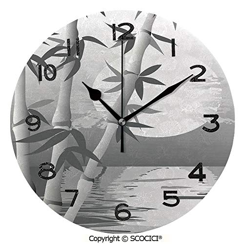 - SCOCICI 10 Inch Round Face Silent Wall Clock Stem of The Bamboo Plant by The River in Full Moon at Night Twilight Horizon Artful Print Unique Contemporary Home and Office Decor