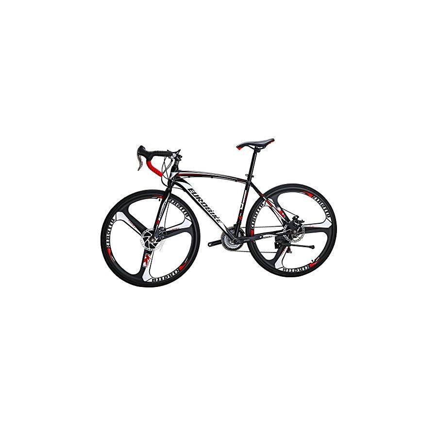EUROBIKE Road Bike EURXC550 21 Speed 54 cm Frame 700C 3 Spoke Wheels Road Bicycle Dual Disc Brake Bicycle