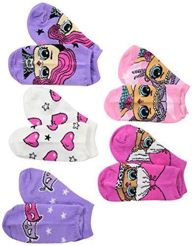 LOL Surprise! Girls' Big 5 Pack No Show, Fits Sock Size 9-11; Fits Shoe Size 4-10.5, pink/purple/multi
