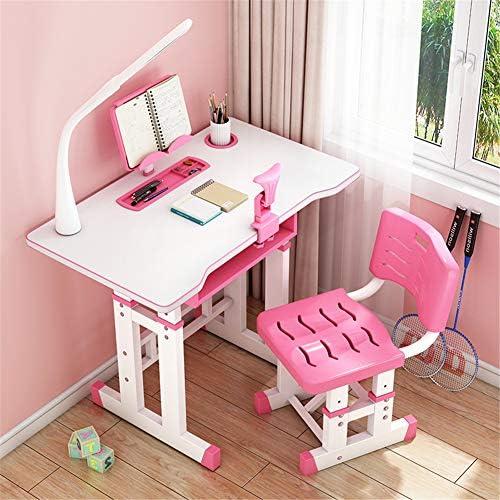 キッズデスクとチェアセット、 子供用机と椅子セット高さ調節可能な子供用学習テーブル、矯正器具と目の保護ランプ付き、学校と家庭用
