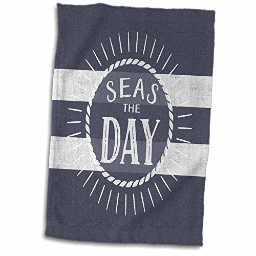 3dRose-Doreen-Erhardt-Beach-Collection-Seas-the-Day-Play-on-Words-Nautical-Beach-Theme-Bold-Stripes-Towel