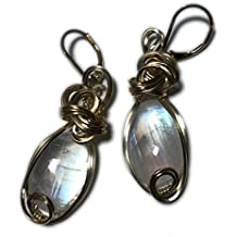 Moonstone, Rainbow MOONSTONE Earrings 14k Gold - Fill Wire Wrapped Jewelry 1218g3-05