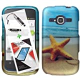 T-Mobile ZTE Concord II Case ZTE Z730 3 in 1 Bundle Rubberized Graphic Design Snap On Skin Cover Hard Case - Star Fish (Free Ultra-Sensitive Stylus Pen and Premium Screen Protector by BeautyCentral TM) by Generic