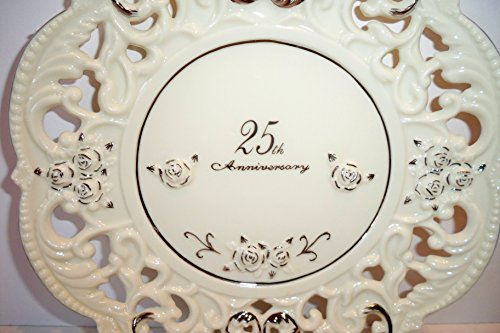 Enesco 25th Wedding Anniversary Silver & White Porcelain Rose Lace Cutout Plate Gift