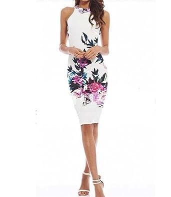 Etuikleid Blumen, Sondereu Pencil Kleid Ärmelloses Figurbetontes Kleid  Cocktailkleid Abendkleid Bodycon Party  Amazon.de  Bekleidung 42a8795e93