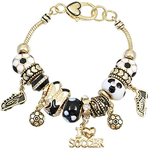 (Murano Style Beads, Soccer Balls, Shoes, Hearts, Crystal Charm Sports Themed Bracelet for Women and)