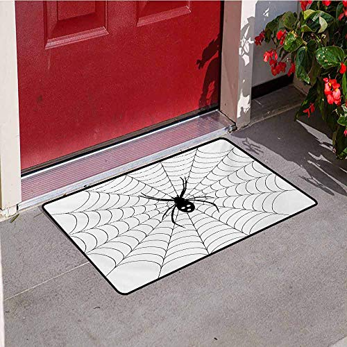 Jinguizi Spider Web Welcome Door mat Poisonous Bug Venom Thread Circular Cobweb Arachnid Cartoon Halloween Icon Door mat is odorless and Durable W19.7 x L31.5 Inch Black White]()
