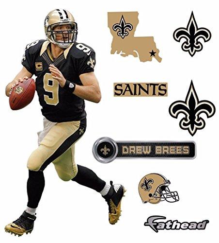"Price comparison product image Drew Brees FATHEAD New Orleans Saints Logo Set Official NFL Vinyl Wall Graphics 17"" INCH"