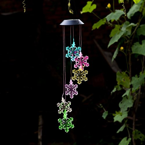 Amazing Wind Chime,Color Changing Solar Mobile Wind Chimes Lights Hanging Wind Bell Light Night Hanging lamp for Patio Garden Lighting Home Decoration with Spinning Hook (Snowflake) For Sale