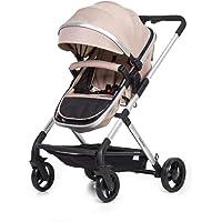 Lightweight & Stylish 2in1 Baby Pram **Bonus Foot Muff, Baby Carry Bag, Rain Cover & Cushion Pad** (Beige)