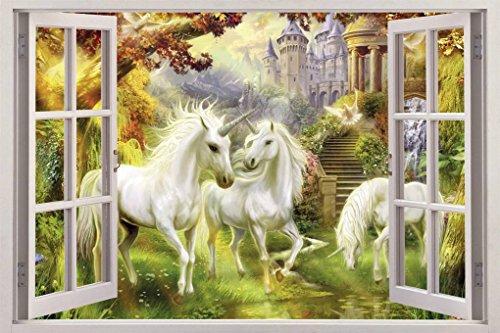 Unicorn Mural - Unicorn Garden 3D Window View Decal WALL STICKER Home Decor Art Mural Fantasy C094, Giant