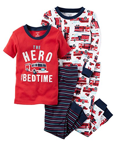 Carters Baby Boys Boy 4pc Firetruck Hero at Bedtime, Print, 9M ()