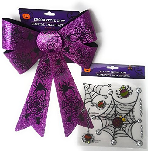 FALL/HALLOWEEN DECORATIONS BEAUTIFUL PURPLE GLITTERY BOW WITH BLACK WEBS AND SPIDERS COMES WITH 7 PIECE WINDOW CLING WITH WEBS AND INSECT GREAT DOOR DECORATIONS