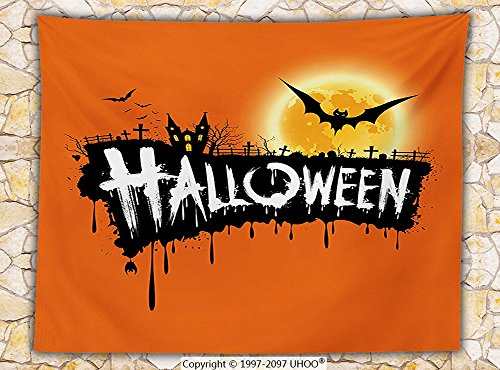 Halloween Decorations Fleece Throw Blanket Spooky Party Theme Flying Bats and Gloomy Full Moon Grunge Style Retro Decor (Cape Town Halloween Party)