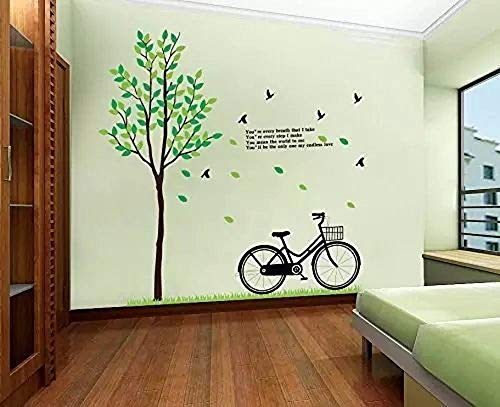 GoldenCart Wall Decorations for Living Room I Wall Decor for Living Room I Vintage-Style Bicycle, Tree and Green Leaves I Wall Decorations for Bedroom I Tree Wall Decal Stickers (Vinyl, 200 X 180cm) For Sale