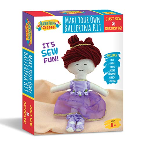 - Peachy Keen Crafts Ballerina Doll Making Kit - Stitch & Sew Your Own Stuffed Doll - DIY Craft Set for Kids