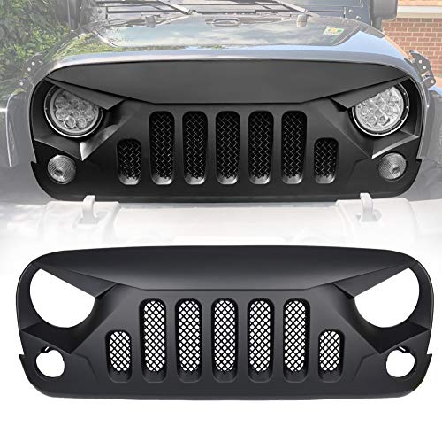 - Bolaxin Matte Black Angry Skull Front Grille Grid Grill Mesh Insert for Jeep Wrangler JK JKU Rubicon Sahara Sport X Unlimited 2007-2018