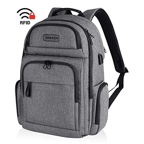 KROSER Travel Laptop Backpack Stylish 15.6 Inch Computer Backpack Water-Repellent Sturdy School Daypack with RFID Pockets USB Charging Port for Work/Business/College/Men/Women-Grey