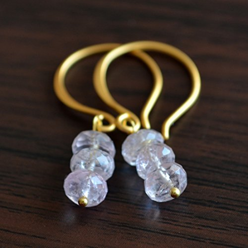 Blush Pink Aquamarine Earrings in Gold (Gold Vermeil French Hook)