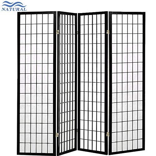 4-Panel Folding Screen Black and White