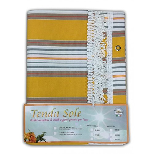 TENDA SOLE DA ESTERNO GIARDINO BALCONE RIGHINO GIALLO CONFEZIONATA - Cm. 140x250 Tex family