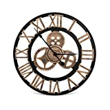 Nosiva Industrial Wall Clock Handmade 3D Gear Clock Large Rustic Decorative Wall Clock European Retro Vintage Clock Wall Decor for Retro Style Living Room/Office/Bar/Restaurant Decoration