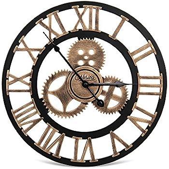 Nosiva Industrial Wall Clock Handmade 3D Gear Clock Large Rustic Decorative Wall  Clock European Retro Vintage Clock Wall Decor For Retro Style Living ...