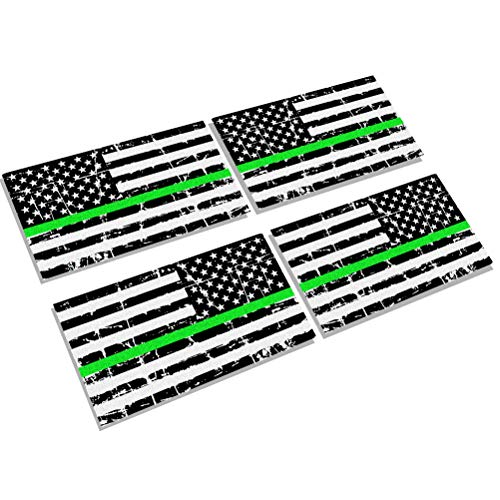 Creatrill Reflective Distressed Thin Green Line Decal Matte Black - 2 Pairs 3x5 in. American USA Flag Decal Stickers for Cars, Trucks, Hard Hat, Support for Federal Agents and Military ()