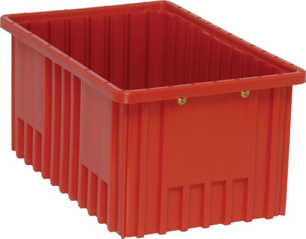 Quantum Storage Systems DG92080RD Dividable Grid Container 16-1/2-Inch Long by 10-7/8-Inch Wide by 8-Inch High, Red, 8-Pack