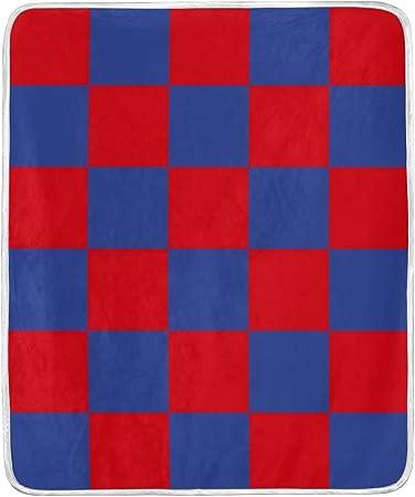Manta Suave y cálida con diseño de Cuadros Rojos y Azules