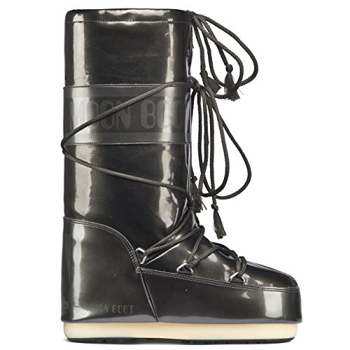 Moon Boot Unisex Adults Original Tecnica Vinil Met Nylon Snow Winter Waterproof Boots - Black - 4-7.5 Womens (Boots Moon Winter Snow)