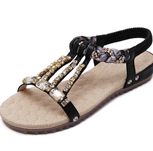 Pantofole Scarpe Sandali da Estate da Sandali donna Nero XIAOQI Casual Perline Sandali donna Pantaloni Piatti Sandali Sandali Piedi Toe Strass Chuck Donna rrZxAqn
