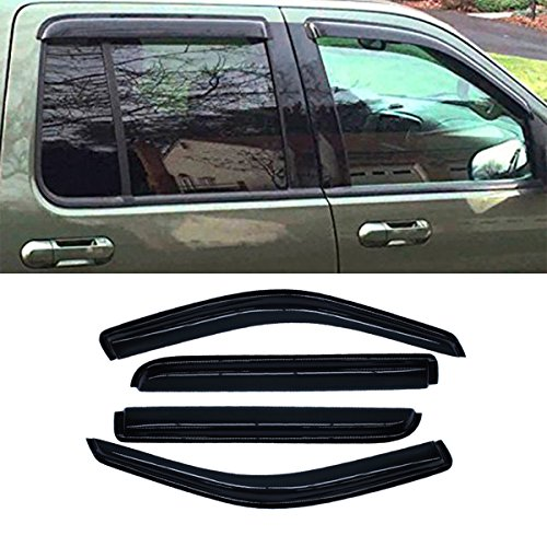 VIOJI 4pcs Front + Rear Smoke Sun/Rain Guard Vent Shade Window Visors Fit 02-10 Ford Explorer 4-Door SUV 02-10 Mercury Mountaineer 4-Door SUV 03-05 Lincoln Aviator 4-Door (Front Vent Visor)