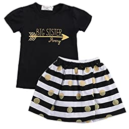 Toddler Infant Kids Girls Summer Dress Tops T-Shirt Striped Skirt Outfits 2-7T (6-7 Years, Black)