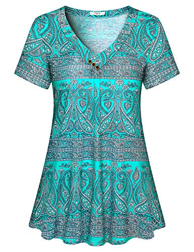 Viracy Peasant Blouse, Ladies Summer Bohemian Tops Plus Size Tunics for Women to Wear with Leggings Short Sleeve Cute Dressy Floral Shirts Party Wear Ruched Drape Designer Clothes Polyester Green 2XL