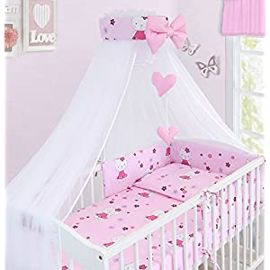 LUXURY 10Pcs BABY BEDDING SET COT PILLOW DUVET COVER BUMPER CANOPY to Fit Cot Size 120x60cm 100% COTTON (Hello Kitty)
