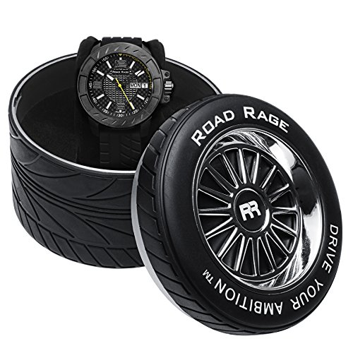 F1 Team Day Date Watch (Road Rage Men's Sports Car Watch. RR103.Yellow Charger. Tire gift)