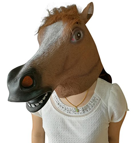 [Oufeisha Deluxe Novelty Halloween Costume Party Animal Brown Horse Head Mask] (Deer Deluxe Latex Mask)