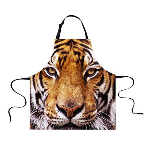 - MonkeyJack Women Men Animal Waterproof Apron Chefs Kitchen Cooking Craft Art Bib Apron - Tiger