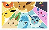 Pokemon Eevee Evolution Playmat + Free RFG Small Sized Sleeves 75 Count