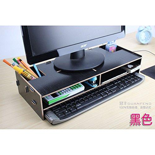 (ETbotu Display Height Bracket Keyboard Drawer Desktop Storage Rack Wooden Computer LCD Higher Bracket Keyboard Storage Frame)