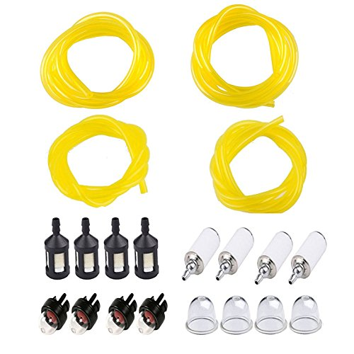 Podoy Tygon Fuel Line for Poulan Weedeater Chainsaw Parts Repower Kit 4 Sizes with Primer Bulb, Fuel Filter I.D0.08 x O.D 0.14