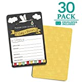 Baby Shower Invitations - 30 Cards + envelopes. Gender Neutral for boy or Girl. Match Baby Shower Games, Decorations & Favors. Perfect invites for Showers, Sprinkles or Gender Reveal Party. (Stork)