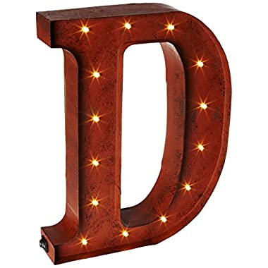 The Gerson Company  D  LED Lighted Metal Letter with Rustic Brown Finish